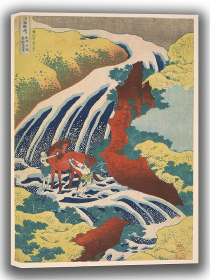 Hokusai, Katsushika: Yoshitsune Falls, from the series Famous Waterfalls in Various Provinces. Fine Art Canvas. Sizes: A4/A3/A2/A1 (003941)